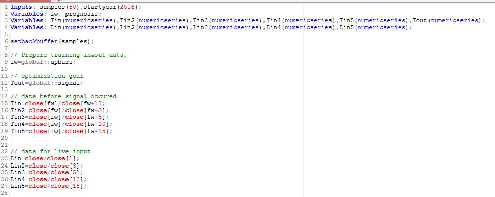 data inputs to nn